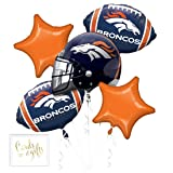 Andaz Press Balloon Bouquet Party Kit with Gold Cards & Gifts Sign, Broncos Football Themed Foil Mylar Balloon Decorations, 1-Set (Color: Sports Broncos)