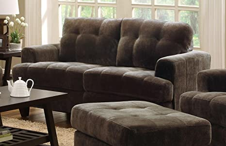 Coaster Hurley Tufted Love Seat in Chocolate Velvet