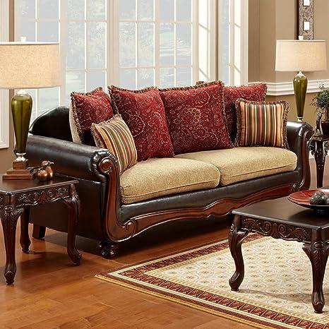Furniture of America Barrington Fabric Sofa - Tan / Espresso