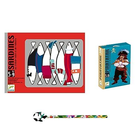 Lot de 2 Jeux DJECO: Sardines + Piratatak + 1 Crayon Funny