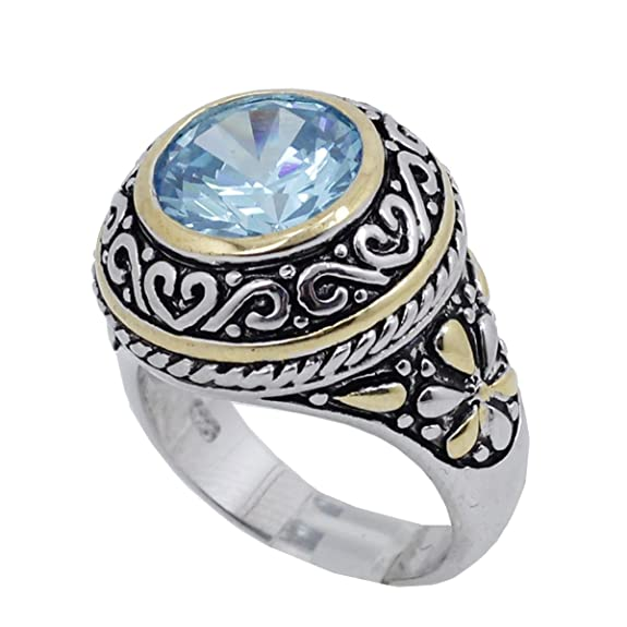 Ladies .925 Italian Sterling Silver Baby blue synthetic gemstone ring SAR47 6,7,8,9