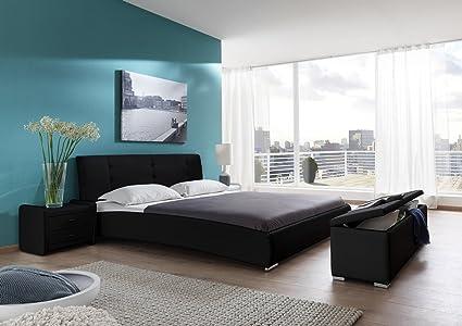 SAM® Design Polsterbett Bastia, 120 x 200 cm in schwarz, Kopfteil im modernen abgesteppten Design, Bett mit Chromfußen, auch als Wasserbett verwendbar