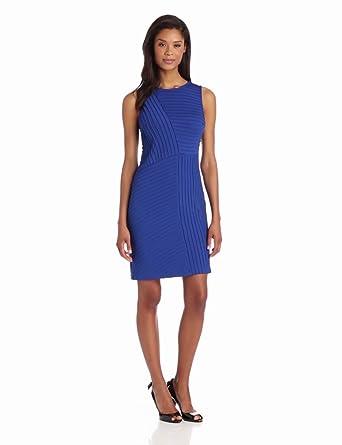 Adrianna Papell Women's Asymmetical Pintuck Dress, Blue, 4