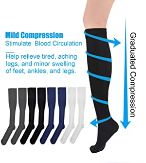 Compression Socks for Women Men Nursing Knee High Compression Stockings 8-15 for Nurse, Pregnancy, Maternity, Run, Exercise, S/M, Black, White, Grey, Navy, 8 Pack (Color: 8 Pack (Black/ White/ Grey/ Navy), Tamaño: Small / Medium)