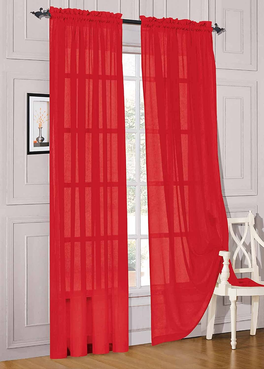 4 types of red sheer curtains phoenix business leader for Linen sheer window panels