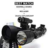 Yannuo Trading 3-9X40 Red & Green Mil-Dot Sight Rifle Airgun Scope Night Vision Scopes Telescopic Sight Illuminated Mounts+600 Lumens Torch Flashlight for Hunting Rifle Scope (Color: Black)