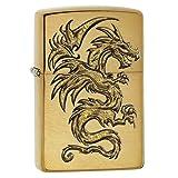 Zippo 29725 Dragon Design Brushed Brass Lighter (Color: Solid Brass Dragon)