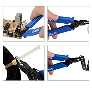 Kaisi KS-107 Wire Flush Cutter Internal Spring 5 Inch Precision Electronic Micro Shear Wire Cutters Wire Cutting Pliers Side Cutters Pliers, Blue - 4 Pack (Color: KS-107-4Pack)
