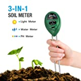 Funyn Soil pH Meter, Light and PH Acidity Tester, 3-in-1 Soil Tester Moisture Meter, Plant Care Helper, Plant Soil Tester for Garden, Lawn, Farm, Indo