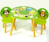Kids Wooden Round Table and Chairs Set with Storage - Jungle