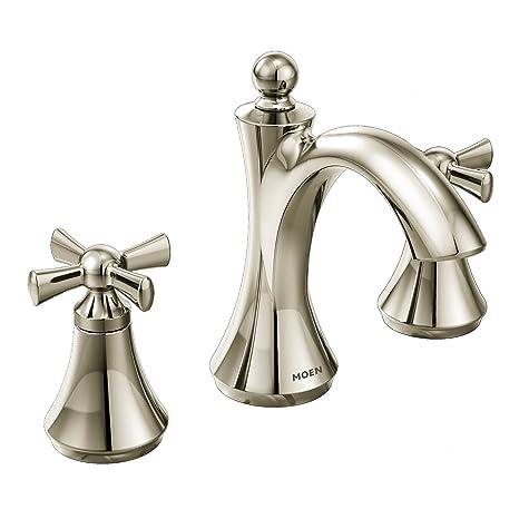 Moen T4524NL Wynford Two-Handle High Arc Bathroom Faucet, Polished Nickel