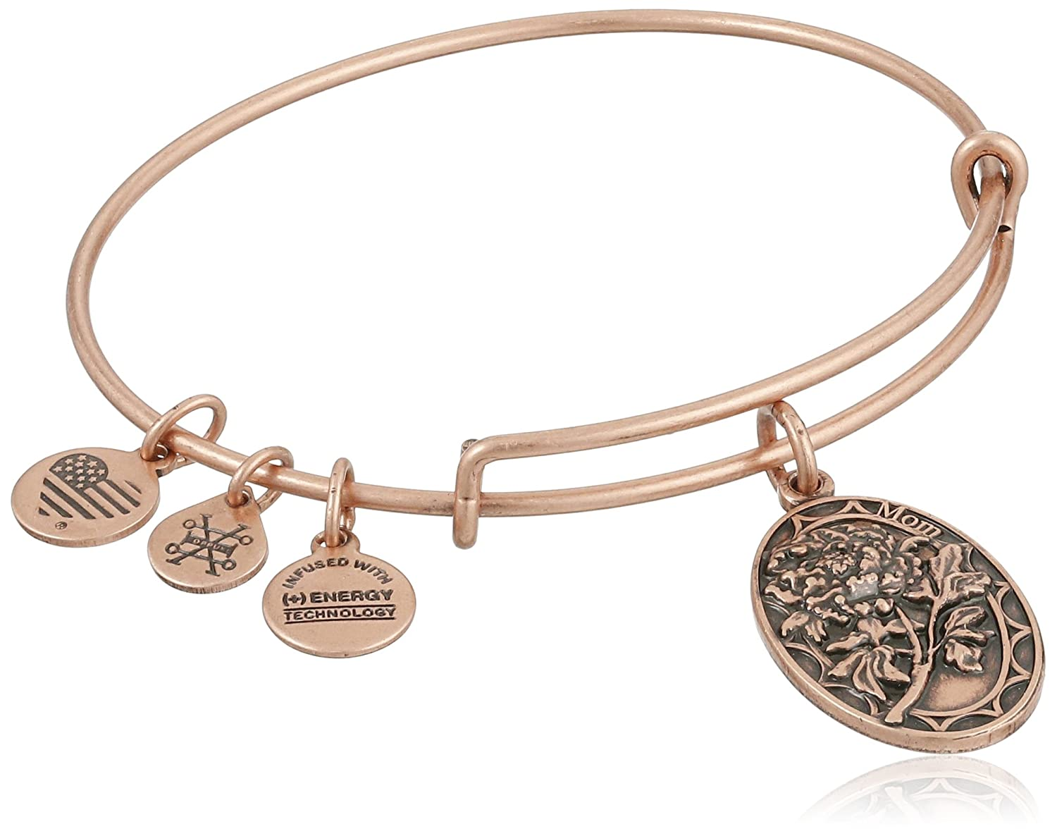 Alex and Ani Because I love you, Mom II Expandable Rafaelian Rose Gold Finish Bangle Bracelet