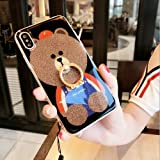 iPhone X 5.8 Case Bling Diamond,Auroralove iPhone X Case Cute Bear Luxury Soft TPU iPhone X Case with Ring Stand for Girls Women(Brown)