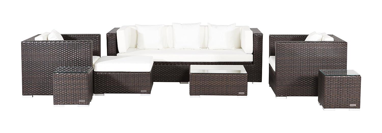 Outflexx Lounge Garnitur, 3x Sitzer-Sofa, 2x Sessel, Hocker und Tisch 1154, Polyrattan w3 Box, braun