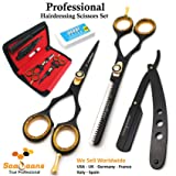 Saaqaans QSS-01 Professional Barber Scissors Set - Package includes Barber Scissor, Thinning Shear, Straight Razor, 10 x Derby Double Edge Blades and Hair Comb in Stylish Scissors Case (USA Black) (Color: Black)