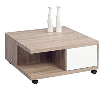 HomeTrends4You 230144 mesa de café, 80 x 38 x 80 cm, madera de roble oscuro