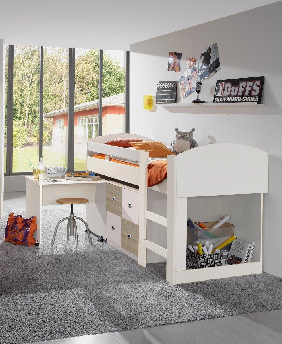 Dreams4Home Hochbett 'Santo', halbhoch, Alpinweiß, Bett, Kinderzimmer, Kinderbett, Jugendbett, Schreibtisch, Kinderschreibtisch günstig bestellen