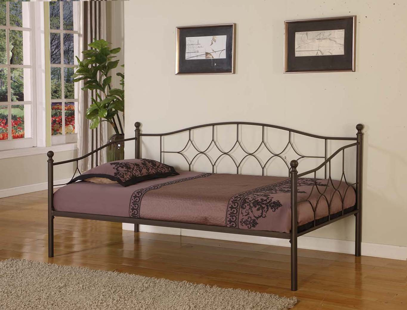 Pewter Finish Metal Twin Size Day Bed (Daybed) Frame With Metal Slats ~New~