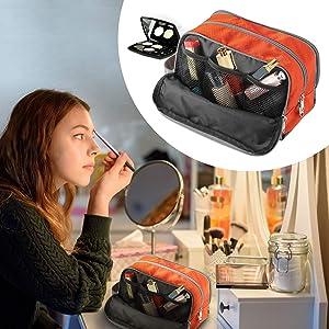 Travel Toiletry Bag Nylon, Gonex Dopp Kit Shaving Bag Toiletry Organizer Orange (Color: Orange)