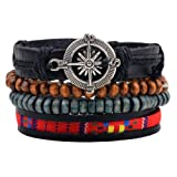 Wood Beads Ethnic Tribal Compass Charm Bracelets Cuff Multilayer Zen Surfer Leather Wrap Rope Wristband