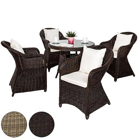 TecTake Ratán sintético aluminio muebles de jardín de alta calidad 4x silla 1x mesa 8x cojines conjunto - resistente a la intemperie - disponible en diferentes colores - (mixto | no. 401974)