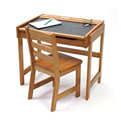 Lipper Chalkboard Storage Desk and Chair Set - Pecan