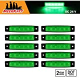 2.5 Inch Small White 2 LED Surface Mount Side Marker Lights Indicator Clearance Lamp Waterproof Trailer Bus Van Boat Lorry Truck SUV Camper RV 12v DC Sealed Super Flux Bulbs AA12 Pack of 2 Meerkatt