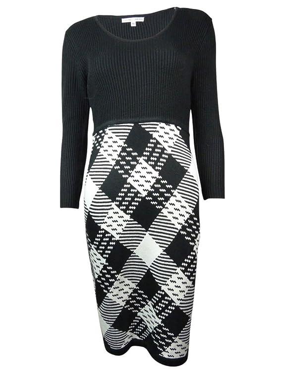Sandra Darren Plaid Ribbed Women's Large Sweater Dress