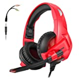 Folding Gaming Headset For Xbox One PS4, ARKARTECH Noise Cancelling Over Ear Headphones with Mic, LED Light, Bass Stereo Sound, Soft Memory Earmuffs Volume Control for PC,Laptop, Mac, Tablet, Mobile (Color: red)