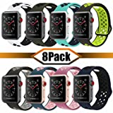 YC YANCH Greatou Compatible for Apple Watch Band 38mm,Soft Silicone Sport Band Replacement Wrist Strap Compatible for iWatch Apple Watch Series 3/2/1,Nike+,Sport,Edition,S/M,8 Pack (Color: Z-8 Pack, Tamaño: 38mm/40mm S/M)