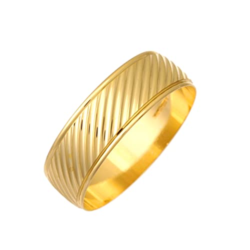 9ct Yellow Gold Protruding Angled Lines Design 7mm Wedding Ring