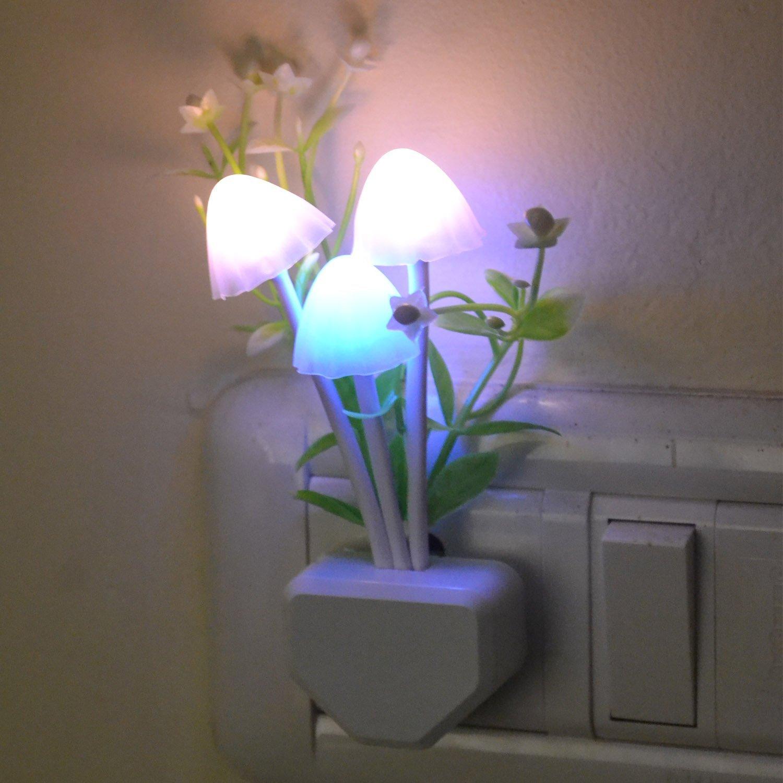 Night lamps india - Novicz Led Mushroom Night Lamp Wall Light Day Night Sensor Control Bed Lamp Bedroom Lamp