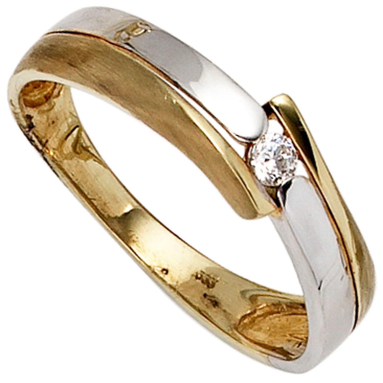 Damen-Ring 333 Bicolor Gold 1 Zirkonia günstig kaufen