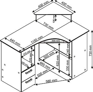 4505 115cm eck schreibtisch computertisch in kernbuche db5. Black Bedroom Furniture Sets. Home Design Ideas