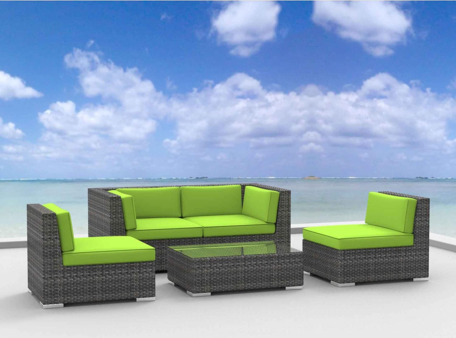 www.urbanfurnishing.net Urban Furnishing - RIO 5pc Modern Outdoor Backyard Wicker Rattan Patio Furniture Sofa Sectional Couch Set - Lime Green at Sears.com