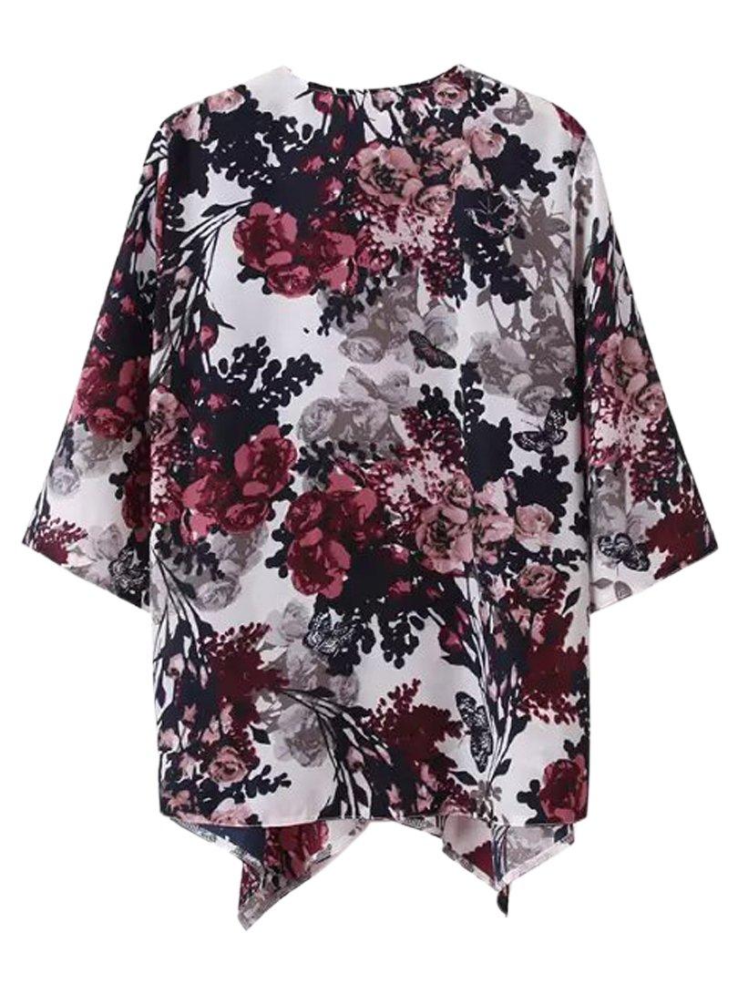 Choies Women's Chiffon Floral Kimono Loose Kimono Cardigan Blouse 3
