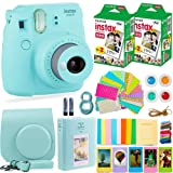 Fujifilm Instax Mini 9 ICE BLUE Camera + Fuji Instant Film (40 Sheets) + Accessories Bundle - Carrying Case, Color Filters, 2 Photo Albums, Assorted Frames, Selfie Lens + MORE (Ice Blue)