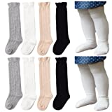 Baby Socks QandSweet 4 Pairs Toddler Girl Cable Knit Knee-High Stockings (0-8M)