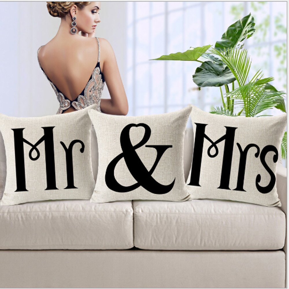 3 Pcs Mr and Mrs Cotton Linen Throw Pillow Case Cushion Cover Home Sofa Decorative 18 X 18 Inch наволочка brand new 2015 mr right mrs al pillow case