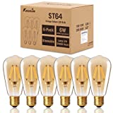 Dimmable Vintage Edison LED Light Bulb, KEDSUM 6W ST64 Edison Bulbs, 2200K Warm White, 350LM, 8 LED Filament Save Energy, Gold Plated Glass and E26 Nickel Plated Shell Base, 60W Equivalent (Color: Amber Glow)