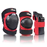 JBM international Adult / Child Knee Pads Elbow Pads Wrist Guards 3 In 1 Protective Gear Set, Red, Adult (Color: Red, Tamaño: Adult)