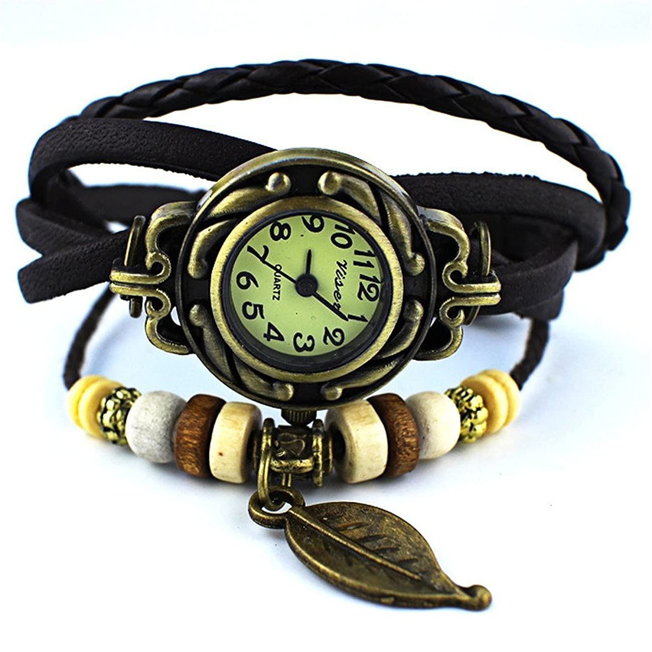 Yunan Pack of 6 Women's Watches Vintage Wrap Around Bead Leaf Bracelet Quartz Wholesale Set 2