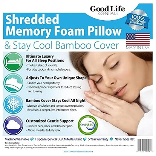 Shredded Memory Foam Pillow with Stay Cool Bamboo Cover