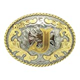 Western Belt Buckle Initial Letters ABCDEFG to Y-Cowboy Rodeo Gold Large Belt Buckle for Men and Women (J) (Color: J, Tamaño: Larger)