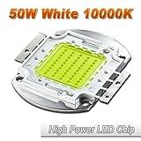 Hontiey High Power LED Chip 50W Cool White Light 10000K-15000K Cold Bulbs 50 Watt Beads DIY Spotlights Floodlight COB Integration Lamp SMD (Color: gold, Tamaño: 1Pcs 50 Watts)