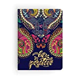 Paper House Productions JL3010 Navy Paisley Be Positive Softcover Journal Dot Grid Notebook (Tamaño: Journal Diary)