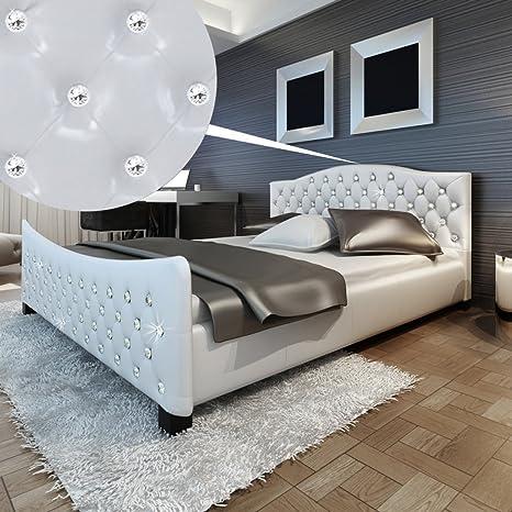vidaXL blanca brillante piel sintética cama con botones de acrílico y Memory Foam colchón 180x 200cm