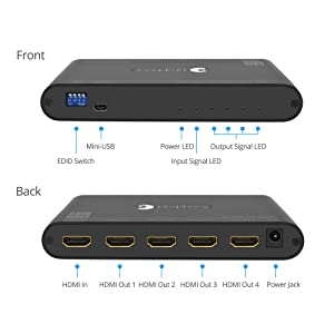 gofanco Prophecy Intelligent 4K 60Hz HDR 1x4 HDMI 2.0 Splitter - YUV 4:4:4, 3D, HDMI 2.0a, HDCP 2.2, EDID, 18Gbps, Auto Scaling, Low Heat, Cascadable, Firmware Upgradable, 4 Port 1 in 4 Out (Color: Black, Tamaño: Black)