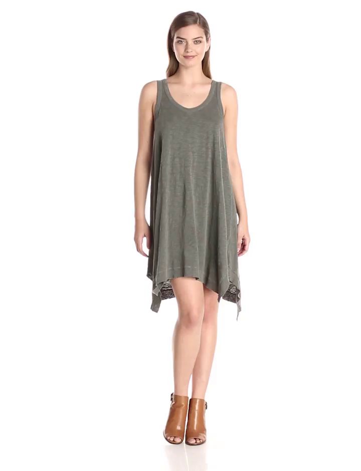 Wilt Women's Flutter Tank Dress, Distressed Fatigue, Medium