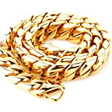 15mm Stainless Steel Mens Womens Necklace Gold Curb Link Chain, 16 inch (Color: Yellow)